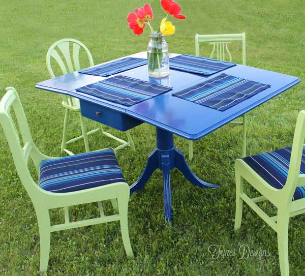 painted outdoor table