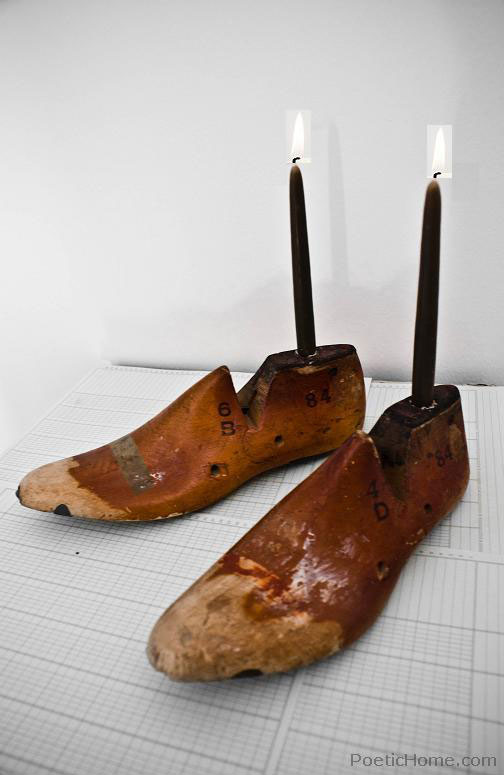 vintage wooden shoe form - candle holder