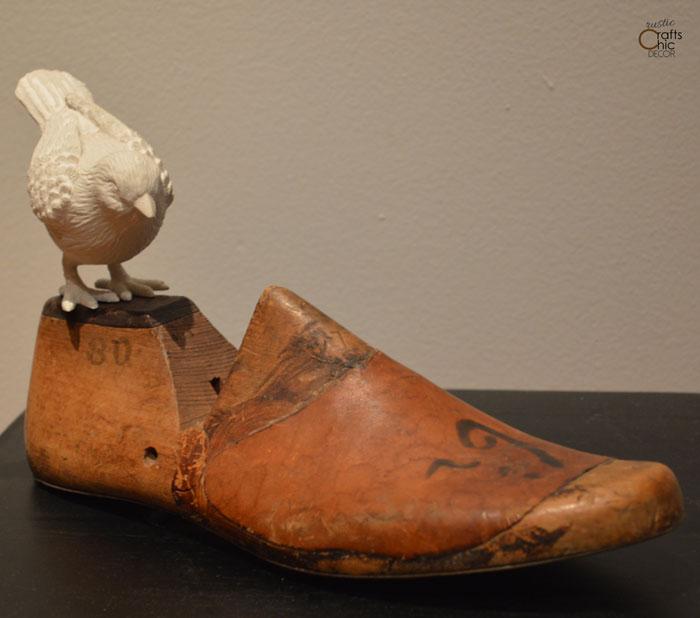 vintage wooden shoe form - display idea