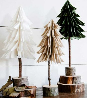 DIY tabletop Christmas trees made from felt and branches