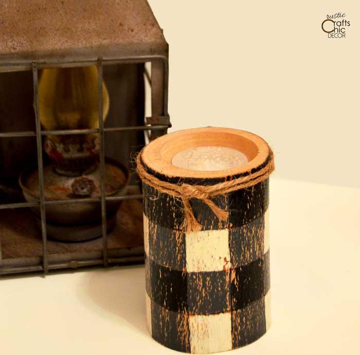 buffalo plaid painted log candle holder