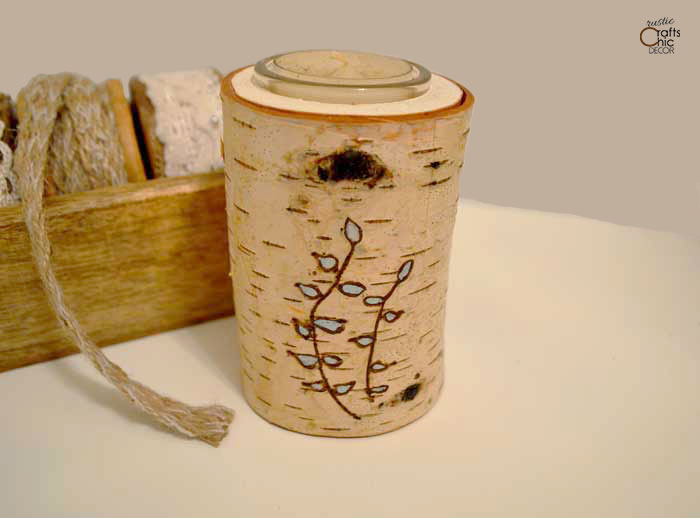 wood burned log candle holder