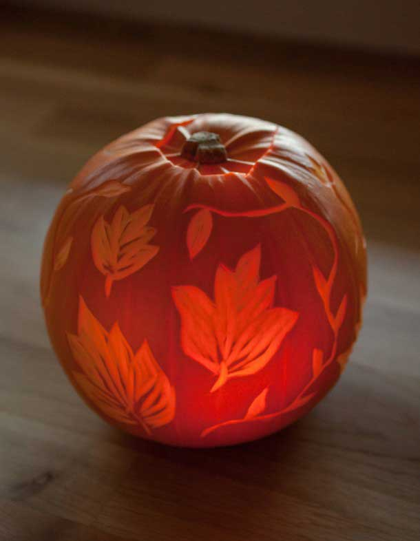 etched leaves on pumpkin