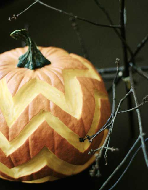 chevron design carved on a pumpkin