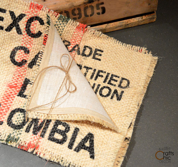 upcycled coffee sack placemate