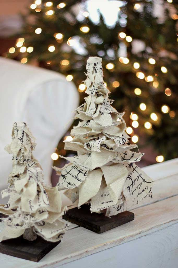 tabletop Christmas tree made from burlap and ribbon