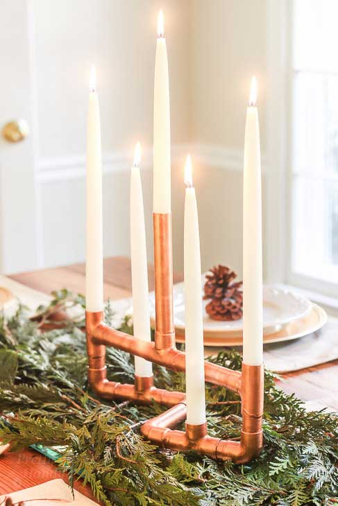 DIY copper candelabra