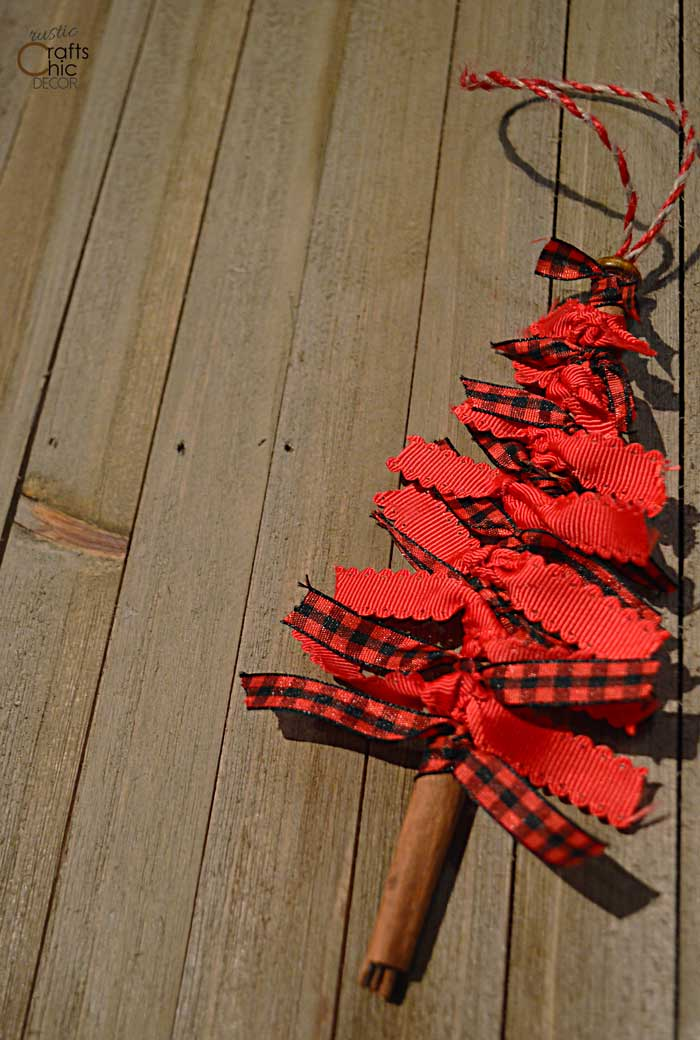 red ribbon Christmas tree ornament