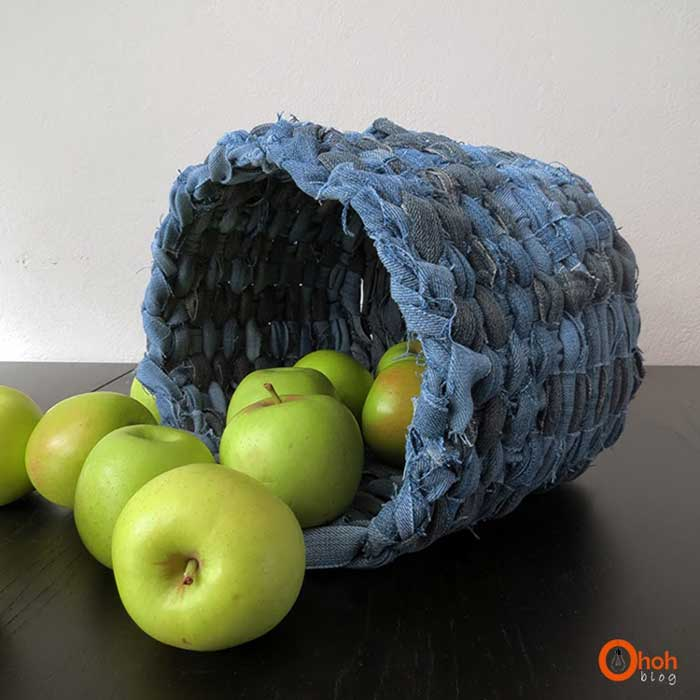 recycle old clothes - denim basket