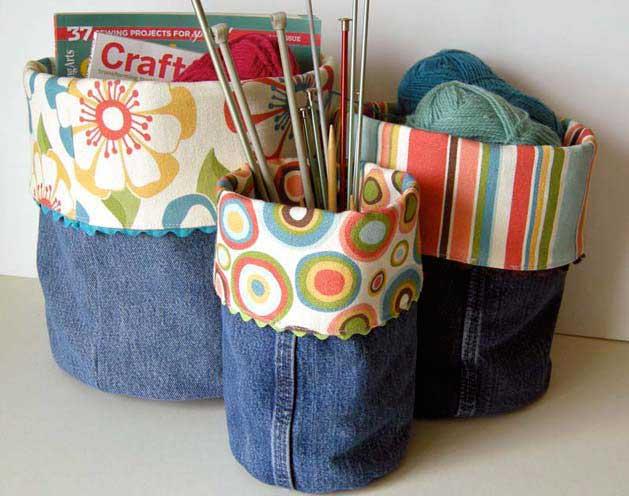recycled denim craft bins