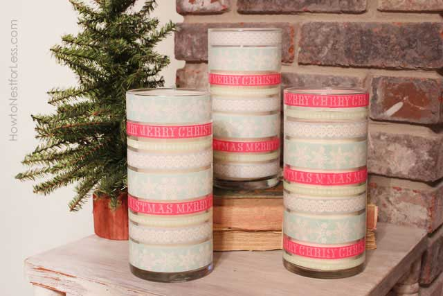 washi tape crafts candle holders