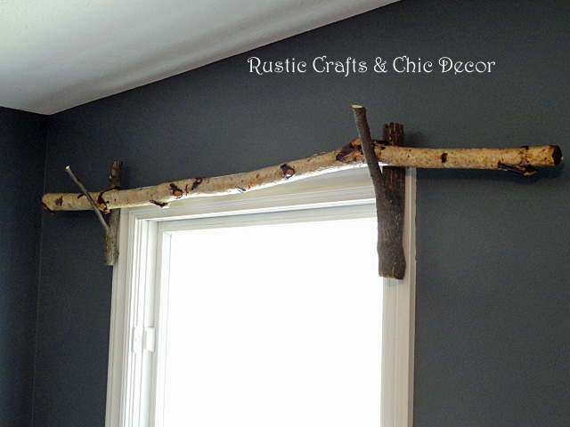 diy rustic branch curtain rod
