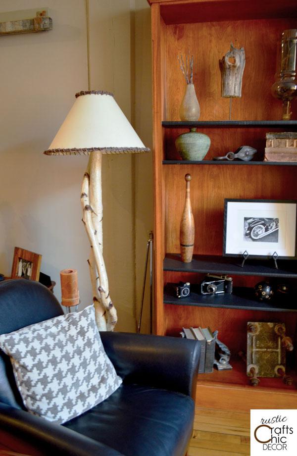 diy rustic birch floor lamp