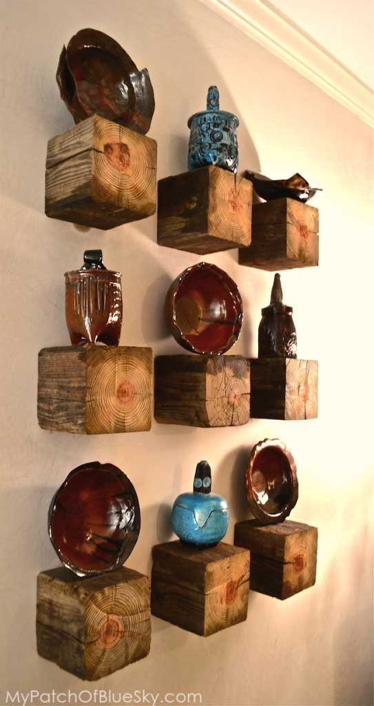 diy rustic display shelves