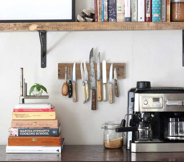 diy rustic magnetic knife rack
