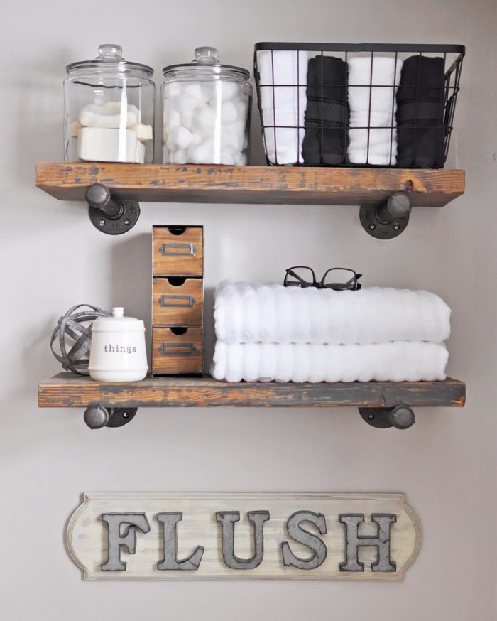 diy rustic plumbers pipe shelves
