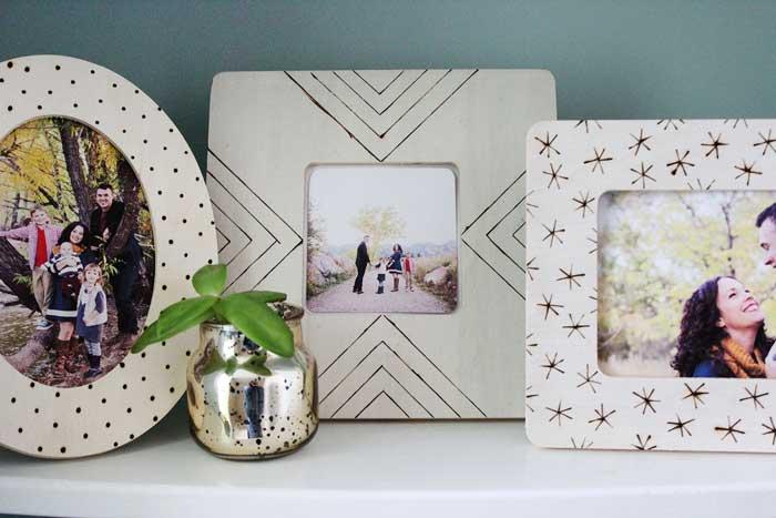 diy woodburned picture frames
