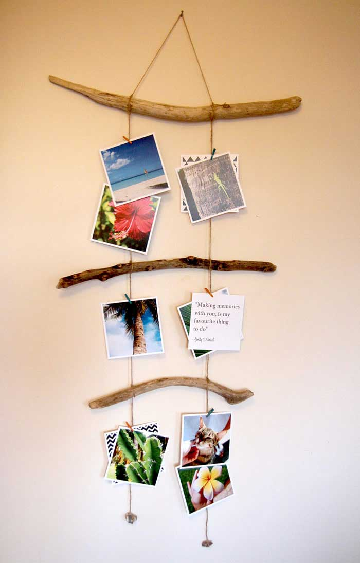 diy driftwood picture hanger