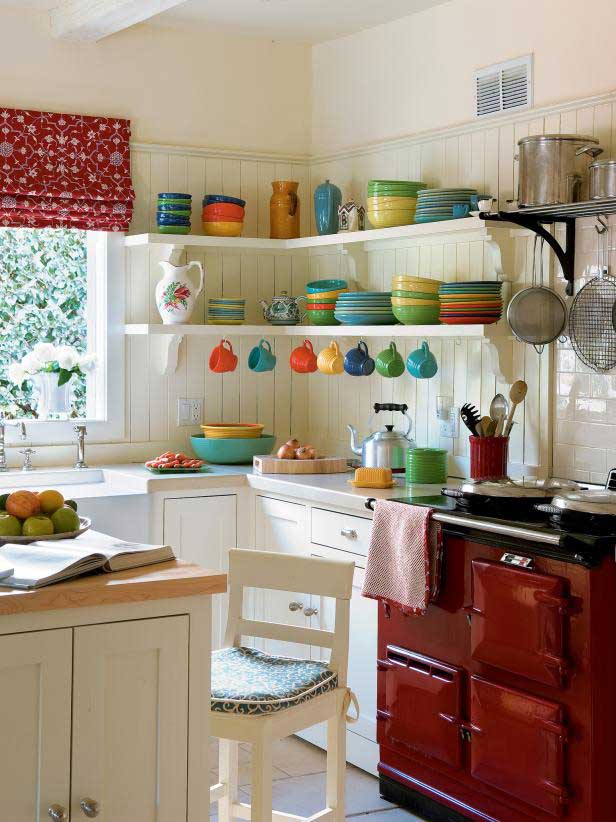small kitchen with pops of color