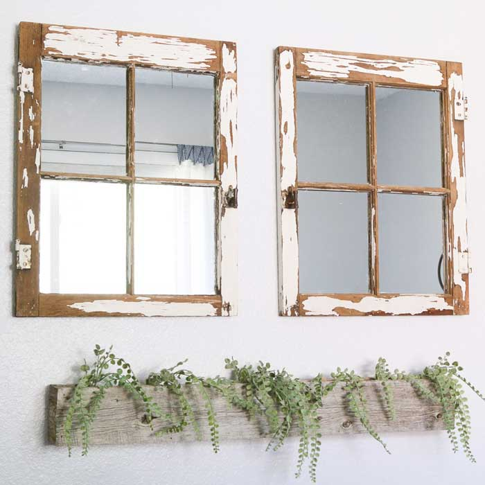 old window turned into a mirror