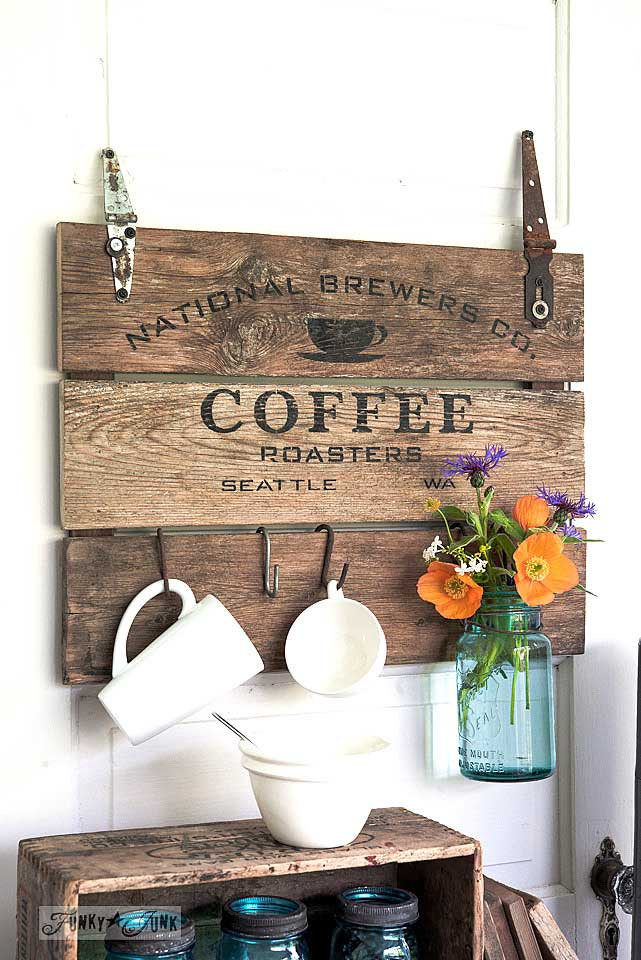diy salvaged wood coffee cup holder