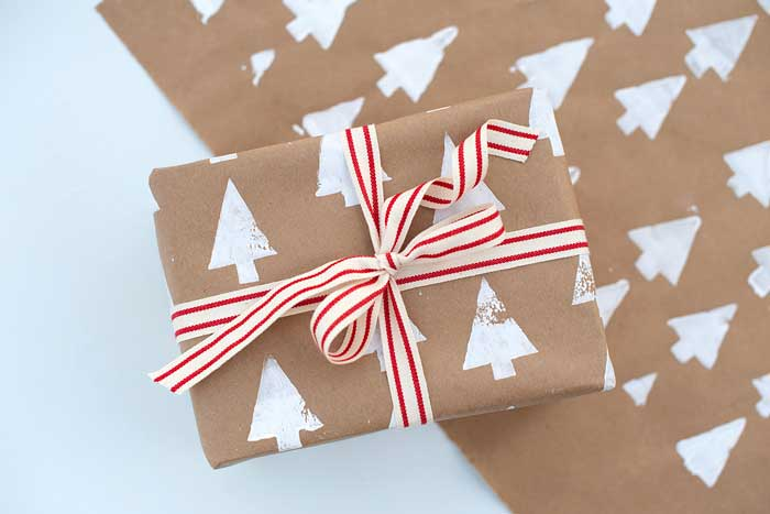 stamped paper gift wrap