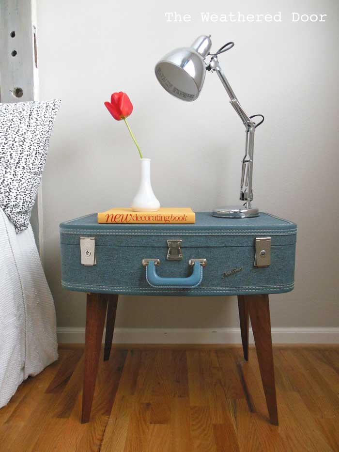 creative suitcase nightstand