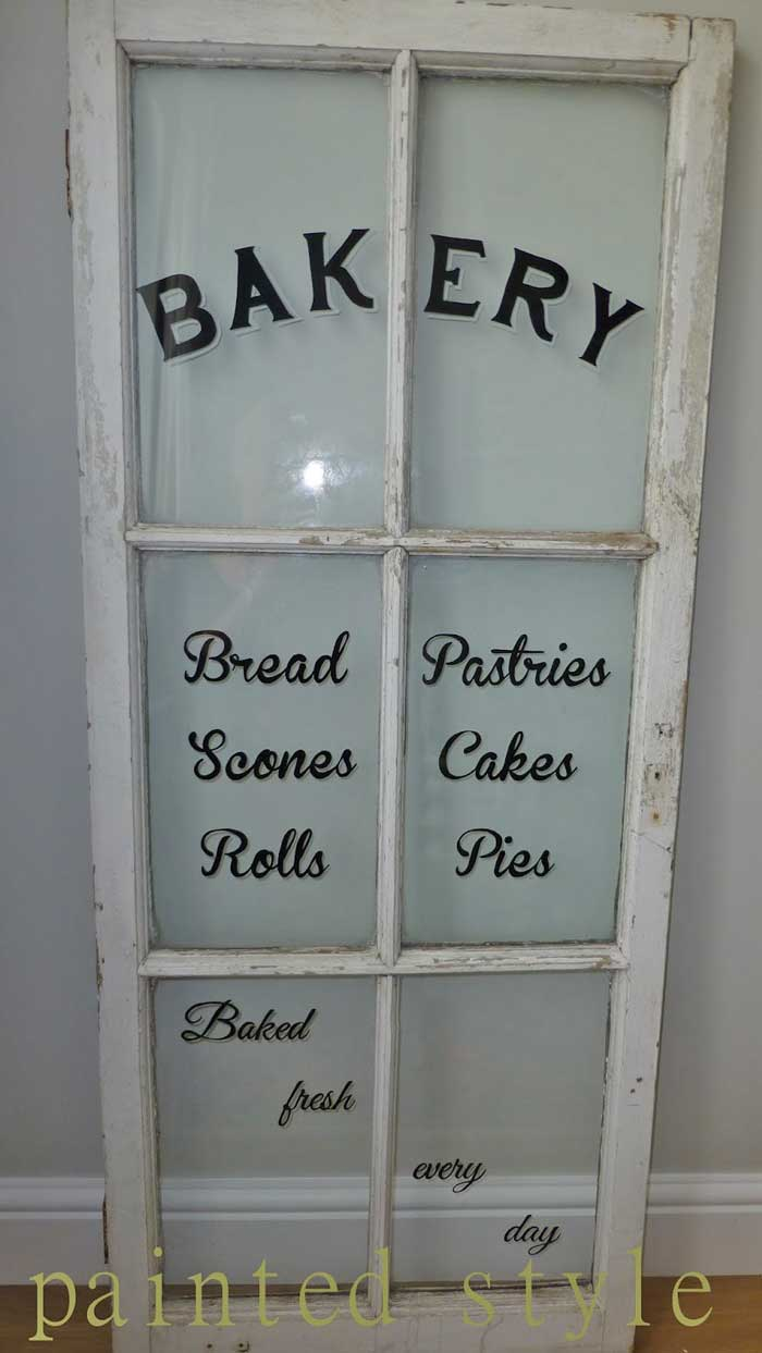 bakery sign using an old window