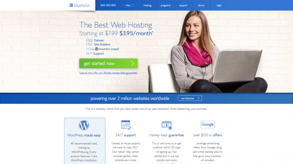 bluehost hosting for starting a blog