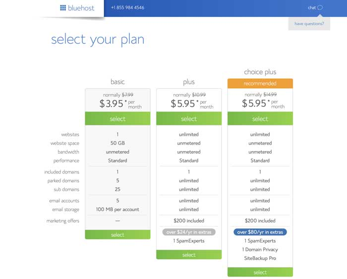 bluehost hosting plans for WordPress blog