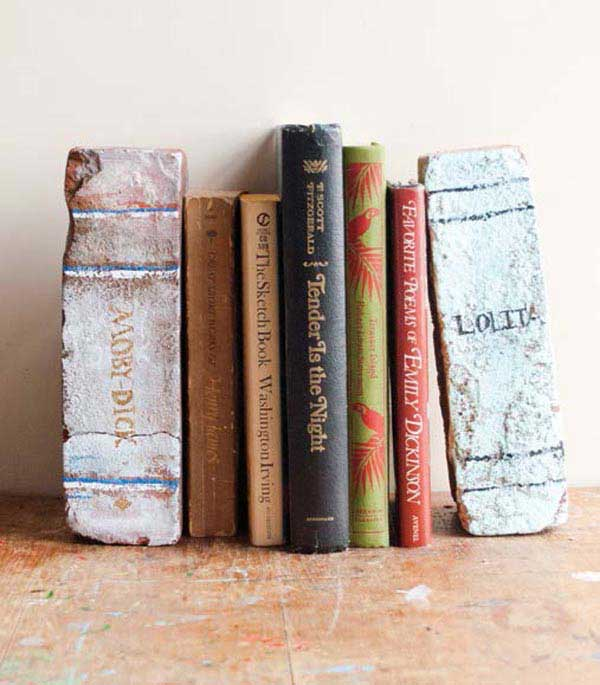 diy brick book bookends