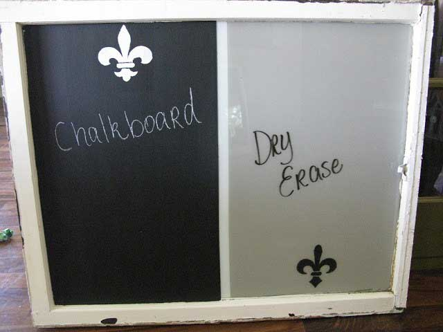 chalk board plus dry erase board made from an old window