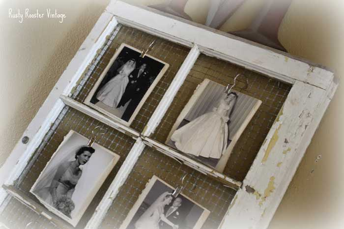 old window chicken wire photo frame