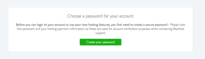 bluehost create a password screen