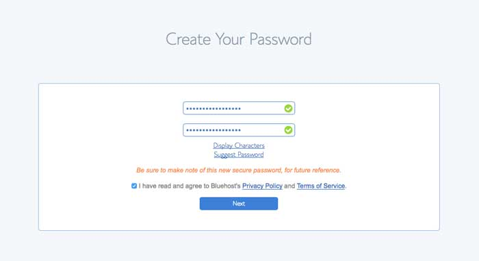 bluehost create password screen