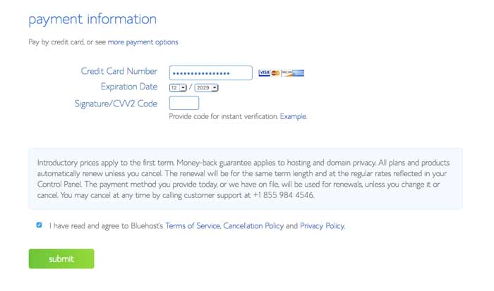 bluehost credit card information page
