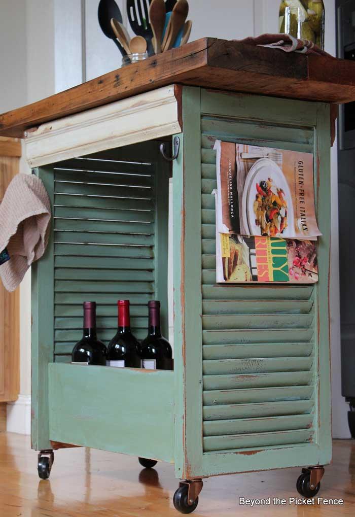 DIY shutter rolling kitchen island