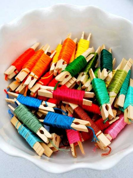embroidery floss clothespins