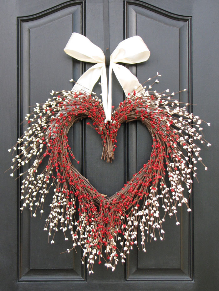 heart grapevine wreath with red and white berries