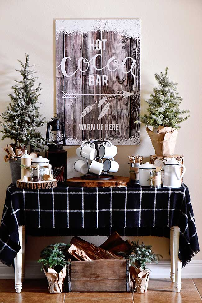 hot cocoa bar for winter home decor