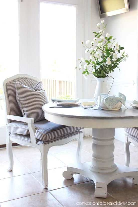 kitchen table makeover with weathered finish