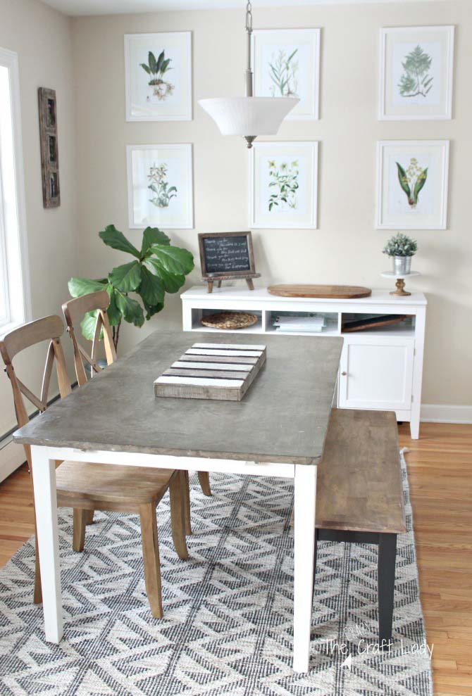 kitchen table makeover with concrete