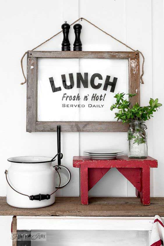 lunch sign from an old window