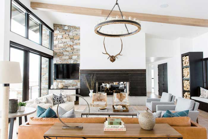 modern rustic living room