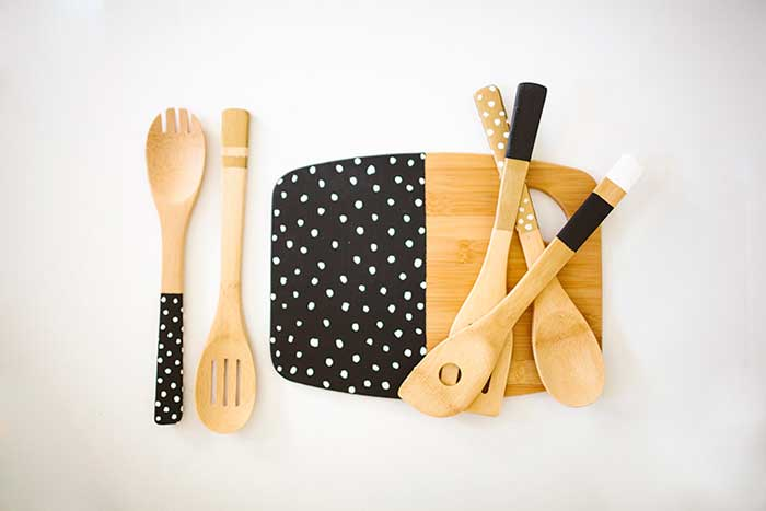 neutral painted kitchen utensils