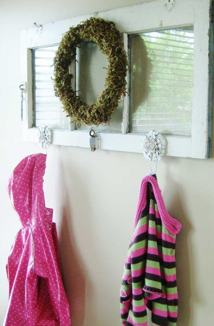 old window coat rack