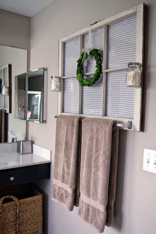 old window towel rack