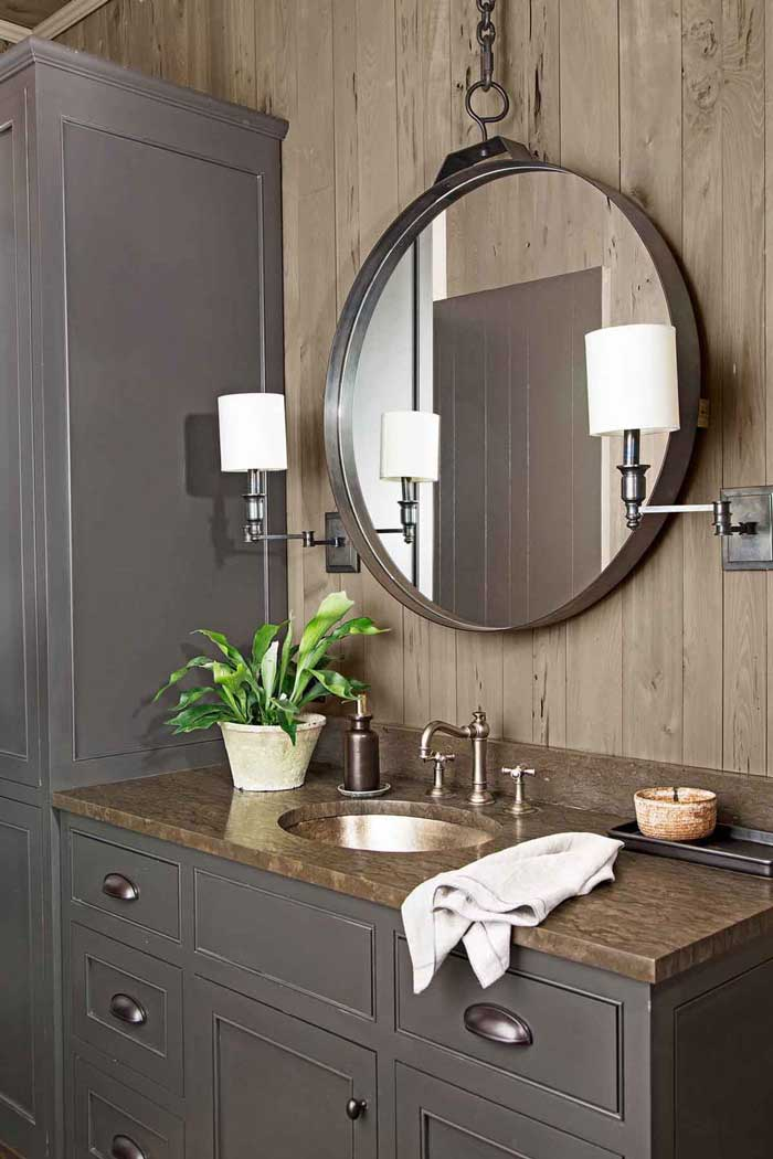 rustic cabin bathroom mirror