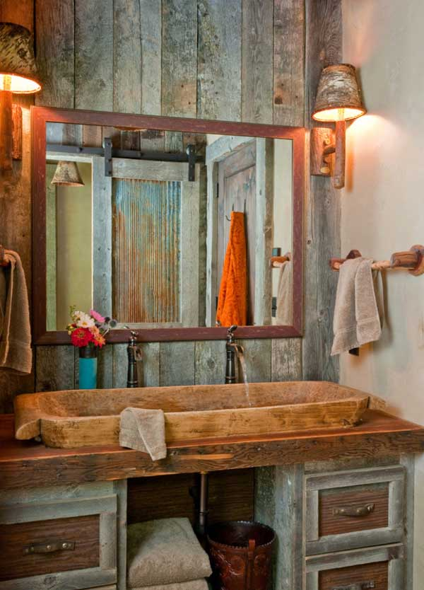 rustic cabin bathroom walls