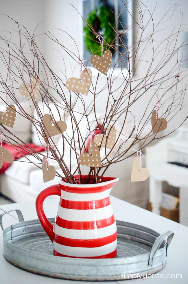 rustic valentine branch decor